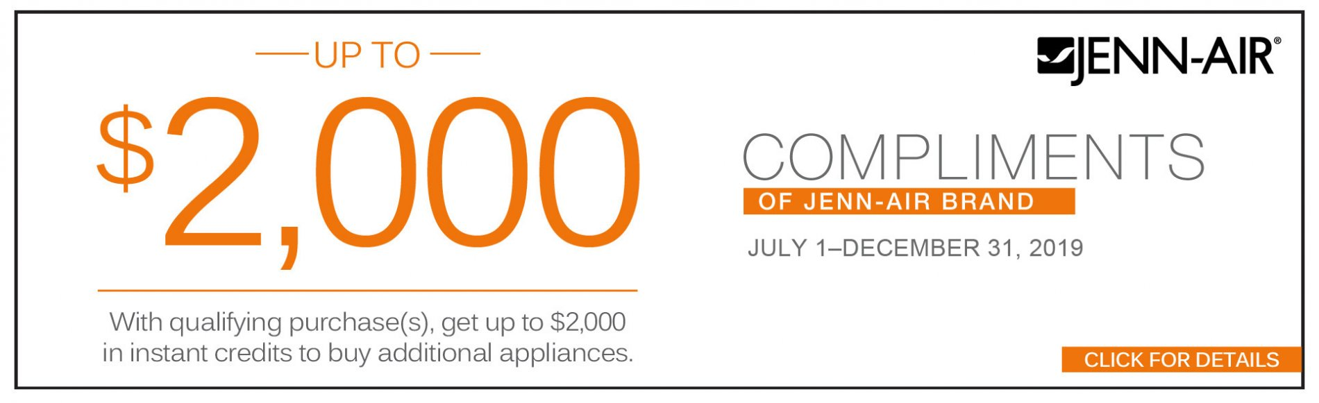Jenn-Air up to $2000 compliments of Jenn-Air